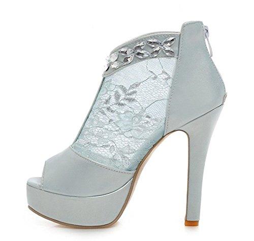 Mesh Blue Aisun Toe Women's Sexy Rhinestone Floral Peep Dress Stylish Sandals qOrvwBXnO