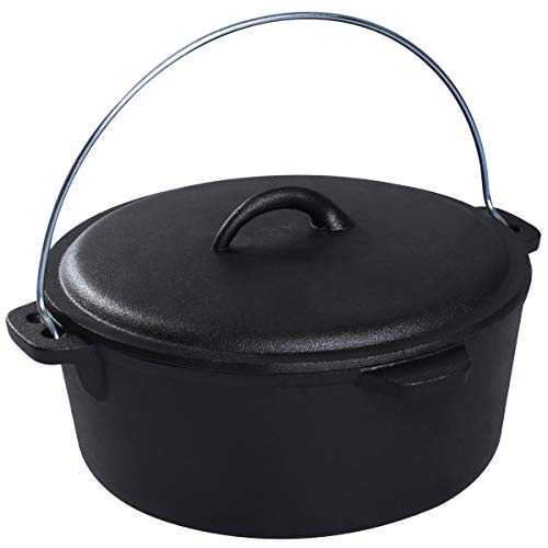 (Cast Iron Dutch Oven with Iron Cover, Chef's Classic Pre-Seasoned Round Dutch Oven with Handles - 6- Quart,)