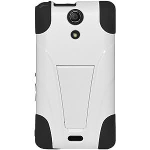 Amzer - Carcasa protectora híbrida para Sony Xperia A (doble capa, con función atril), color blanco y negro