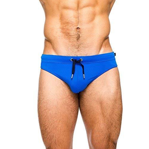 (MIZOK Men's Swimwear Bikini Swimming Briefs Pad Swimsuits Board Surf Shorts Trunks(S,Blue))