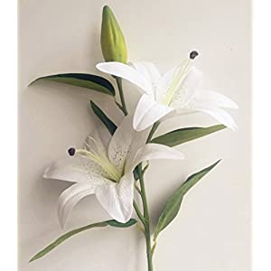 jiumengya 4pcs Real Touch Lily Artificial Simulation Lilies PU Lily Flowers 3 Heads per Piece Wedding Xmas Home Decoration (White) 2