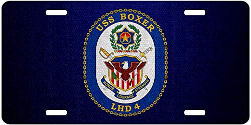 U.S. Navy USS Boxer (LHD-4), Amphibious Assault Ship Emblem (Crest) Personalized Aluminum Metal License Plate Frame Cover U.S. Navy USS Military Auto Truck Car Front Tag 12 x 6 Inch ()