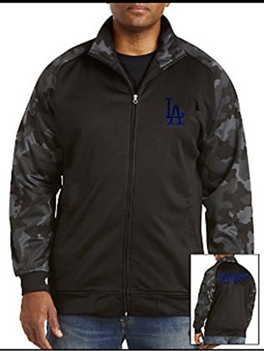 Los Angeles Dodgers MLB Majestic Mens Synthetic Full Zip Camouflage Track Jacket Black Big & Tall Sizes (Majestic Dodgers Jacket)