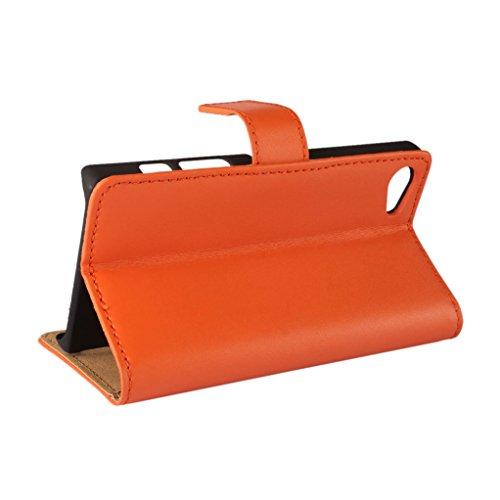 Trumpshop Smartphone Carcasa Funda Protección para Sony Xperia Z5 Compact + Violeta + Ultra Delgada Cuero Genuino Caja Protector con Función de Soporte Ranuras para Tarjetas Crédito Choque Absorción Naranja