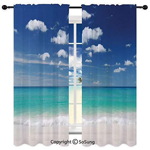 - Soundproof Blackout Curtain Sheer Rod ket Drape for Dining Room,Summer Beach with Exquisite Sky Relax Holiday Away Serene Coast Scenery 95