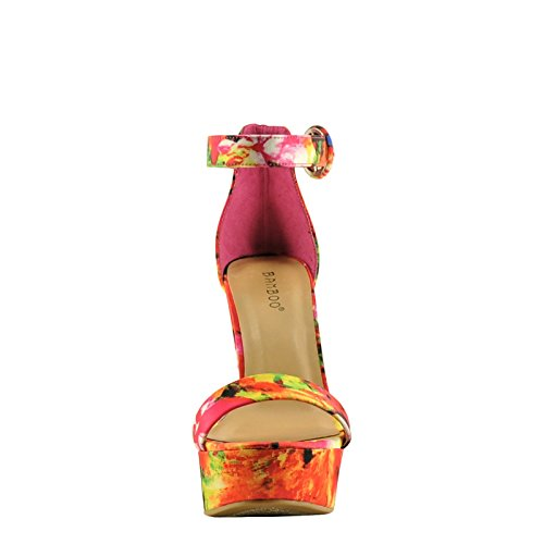 Tournament Women's Platform Red Multi Chunky Bamboo 06M Heels A4qwOH