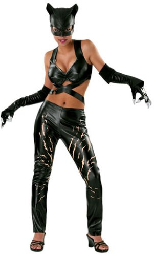 DC Comics Deluxe Adult Catwoman Costume, Black, Small (Batman And Robin Shoes)