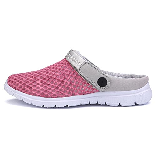 Hibote Summer Shoes Breathable Mesh Hole Shoes Sandals Couples Outdoor Casual Shoes Sandals and Nest Hollow Slippers Rose Red LUFzRG