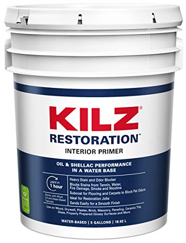 KILZ MAX Maximum Stain and Odor Blocking Interior Latex Primer/Sealer, White, 5 gallon