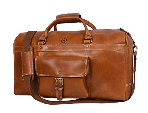 Leather Travel Duffle Bag   Gym Sports Bag Airplane Luggage Carry-On Bag By Aaron Leather (Dark Brown) (Best Luggage Bag Reviews)