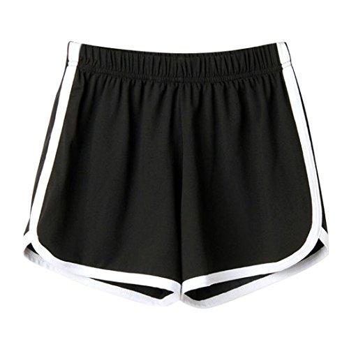 SHOBDW Las Mujeres de Moda señora de la Cintura elástica Verano sólido hasta la Rodilla cómodos Pantalones Cortos…
