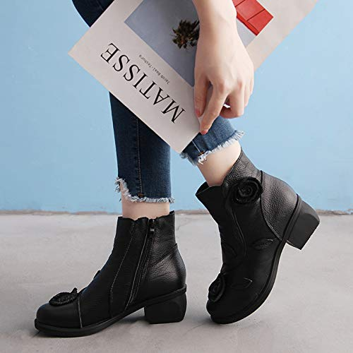 Boots Boots Boots Nero Colore Women Large EU 39 Fuxitoggo Dimensione Leather Nero Shoes Flower wq04C5R