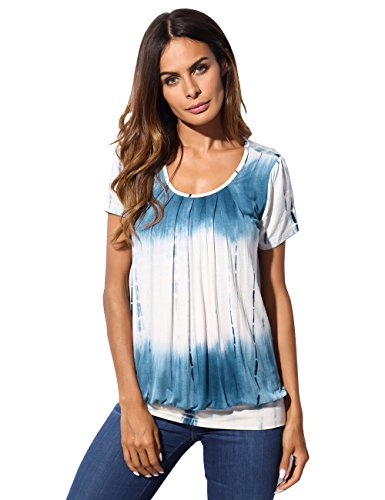 Banded Bottom Tunic, DJT Women's Scoop Neck Short Sleeve Front Pleated Tunic Top Tie Dye Blue #1 XXL (Banded Bottom Tunic)