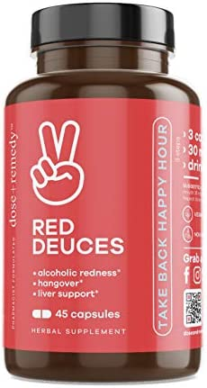 Red Deuces Hangover Cure Prevention Pills Alcoholic Flush, Dihydromyricetin DHM , Prickly Pear, N-Acetyl-Cysteine NAC , Milk Thistle for Morning After Alcohol Recovery, Asian Glow