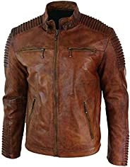 Seek Comfort Men's Leather Jacket Motorcycle Bomber Biker Real Lambskin Leather Distress Brown Vintage Jac