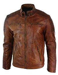 Seek Comfort Men's Leather Jacket Motorcycle Bomber Biker Real Lambskin Leather Distress Brown Vintage Jacket for Men