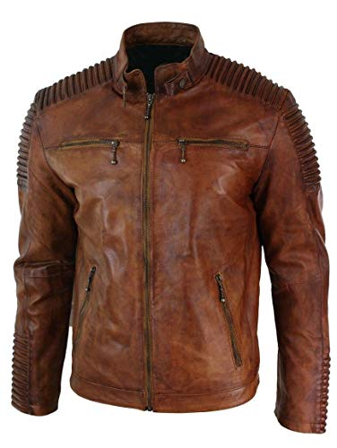 Men's Leather Jackets Motorcycle Bomber Biker Real Lambskin Leather Distress Brown Vintage...
