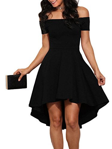 LOSRLY Womens Off The Shoulder Skater High Low Homecoming Party Dress Plus Size Black XL 14 16