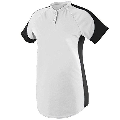 Augusta Sportswear Women's Blast Softball Jersey XL White/Black/Silver Grey - Softball Jersey Piping