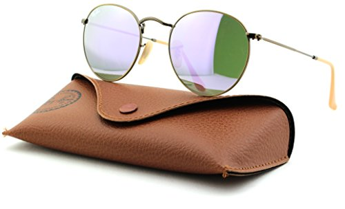 Ray-Ban RB3447 Round Metal Mirror Unisex Sunglasses (Demiglos Brushed Bronze/Lilac Mirror 167/4K, - 4k 167