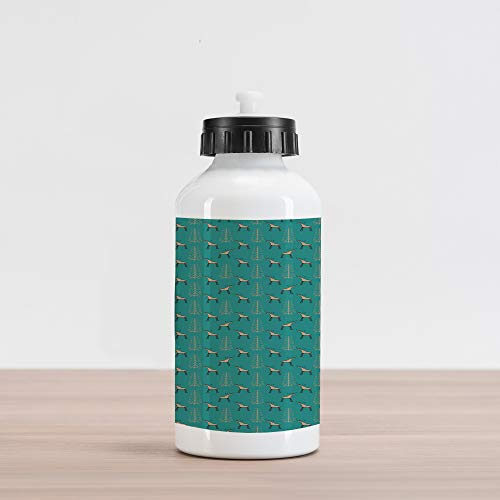 - Lunarable Teal and Tan Aluminum Water Bottle, Christmas Theme Moose and Curly Motifs New Year s Eve Holiday Winter, Aluminum Insulated Spill-Proof Travel Sports Water Bottle, Teal Tan and Black
