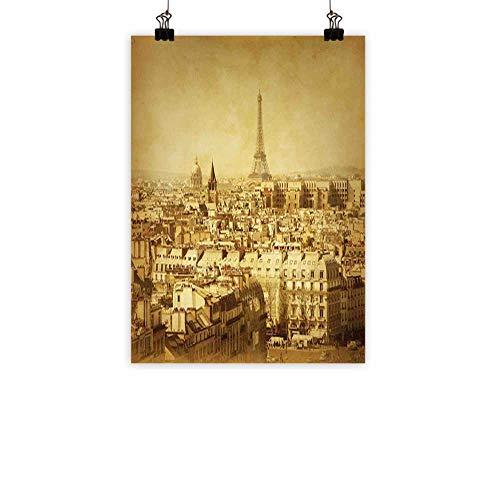 BarronTextile Eiffel Tower Art Oil Paintings Classic Photo of Eiffel Tower Paris National Landmark Old Album Memories Vintage Canvas Prints for Home DecorationsBrown 16