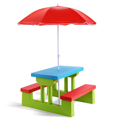 Costzon Kids Picnic Table Set Children Junior Rainbow Bench w/Umbrella (Red & Green) (Fold Table Outside)