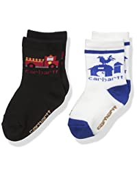 Carhartt Toddler Boy's 2 Pack Infant-Toddler Crew Socks with Grippers