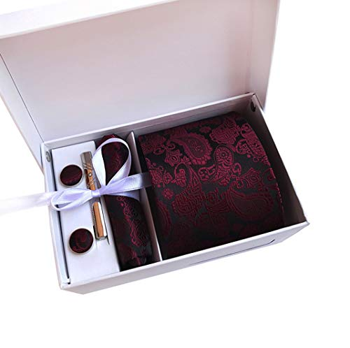 MENDENG Mens Burgundy Paisley Necktie Party Tie Clip Pocket Square Cufflinks Set ()