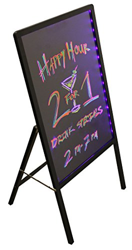 LED Advertising Message Board Writing Chalkboard Sign Sandwich Board Flashing Illuminated, Multi-Colored (39.5