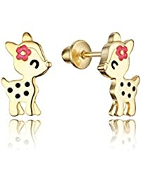 14k Gold Plated Enamel Flower Deer Baby Girls Earrings with Sterling Silver Post