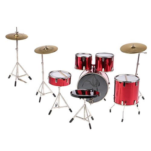 - CUTICATE Luxury 1/6 Red Drum Set Model Toy, Dollhouse Musical Instrument Decoration, 12 inch Action Figures Accessories