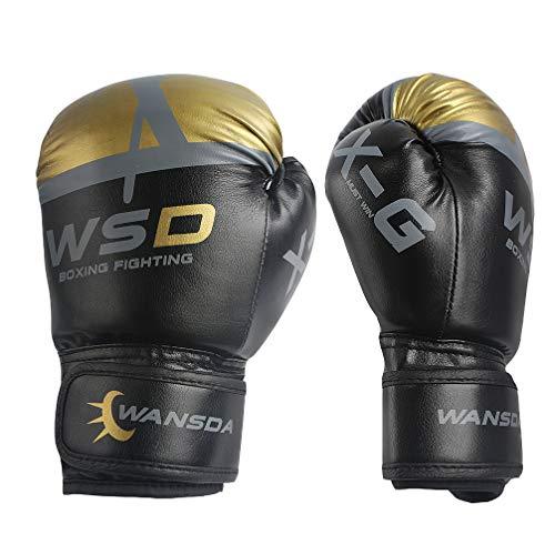 Professional Muay Thai Velcro - Luwint Kids Boxing Gloves, Breathable Junior MMA Muay Thai Sparring Training Gloves, Junior Punching Mitts, 6 oz (Black)