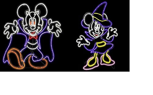 Disney Vampire Mickey & Witch Minnie Mouse Halloween Yard sculpture New Classic Vintage by Generic
