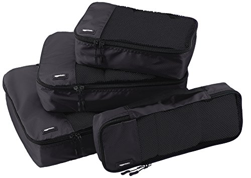 AmazonBasics 4-Piece Packing Cube Set - Small, Medium, Large, and Slim 1 Double zipper pulls make opening/closing simple and fast Mesh top panel for easy identification of contents, and ventilation Soft mesh won't damage delicate fabrics