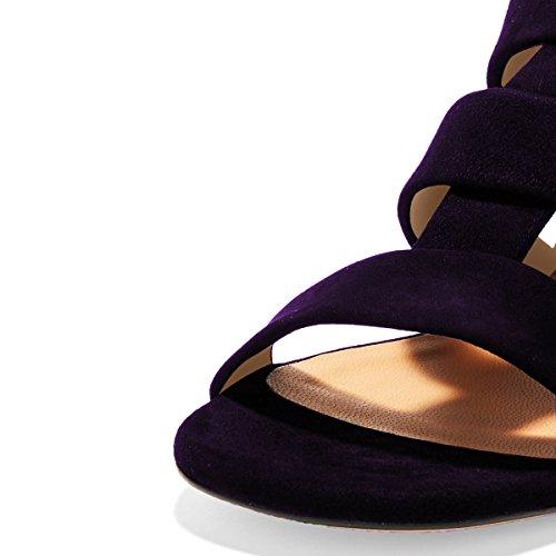 Ydn Donna Open Toe Block Sandali Con Tacco Basso Slip On Straps Pumps Casual Mules Shoes Purple