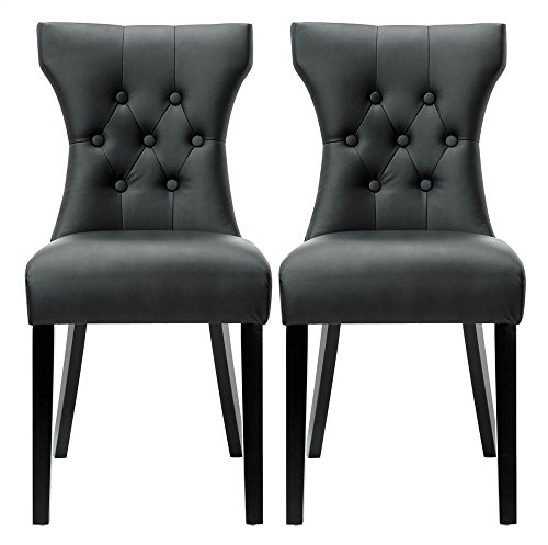 Modway Silhouette Modern Tufted Faux Leather Upholstered Parsons Two Dining Chairs in Black