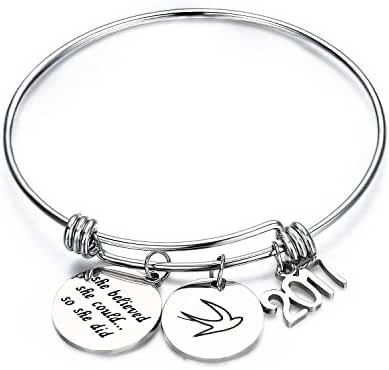 CJ&M Graduation Gift Jewelry Stainless Steel 2017 She Believed She Could So She Did Bangle Bracelet Inspirational Gift for Girl,Women....