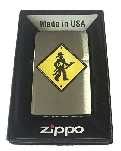 Zippo Custom Lighter - Firefighter Street Sign Brushed Chrome -