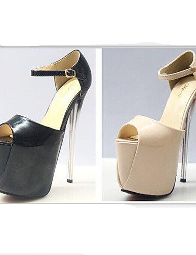 bombas talón de del GGX de los uk4 19cm us6 talón almond de las peep de atractivo las cn40 altura 5 uk6 5 eu39 5 7 más colores black eu37 fiesta us8 mujeres 5 el 7 estilete zapatos almond us6 zapatos del 5 toe cn37 5 EPZwqP0
