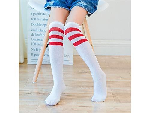 JKHGJUH Cute Children Cotton Socks Kids Cotton Summer Horizontal Stripe Mid Tube Socks (White Red)