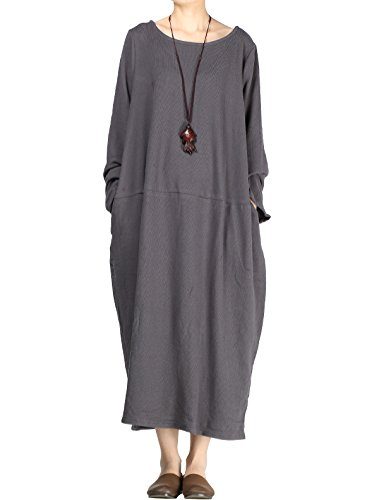 Mordenmiss Women's New Spring/Fall Round Neck Pullover Dress - Medium  - Style 2 Dark ()