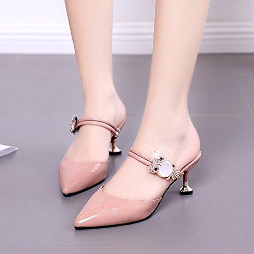 De Gato Mujer Rojo Mujer Gato Zapatillas Zapatos 6 De De Semi Tacon Arrastre 620ff8