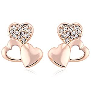 ZMC Women's Rose Gold Plated Alloy Austrian Crystals Stud Earrings, Rose Gold/White