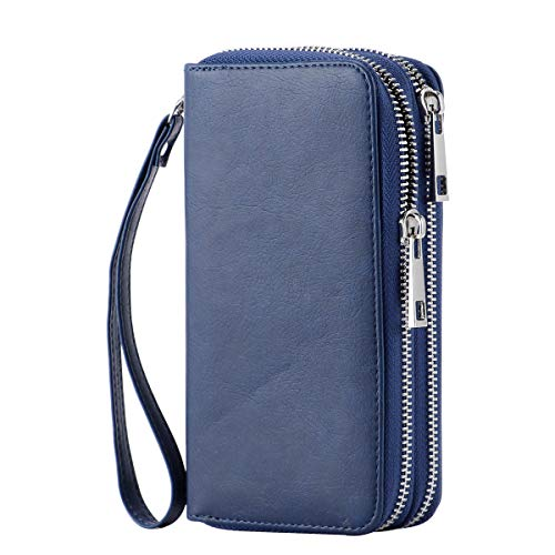 HAWEE Cellphone Wallet Dual Zipper Wristlet Purse with Credit Card Case/Coin Pouch/Smart Phone Pocket Soft Leather for Women or Lady, Blue