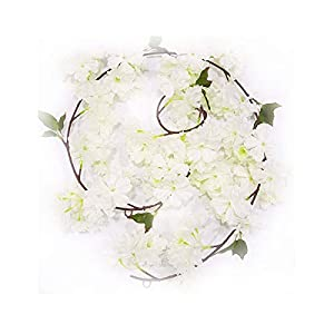Li Hua Cat Rose Garland Artificial Rose Vine with Green Leaves 63 Inch Pack of 3 Flower Garland For Home Wedding Decoration (yh-white) 11