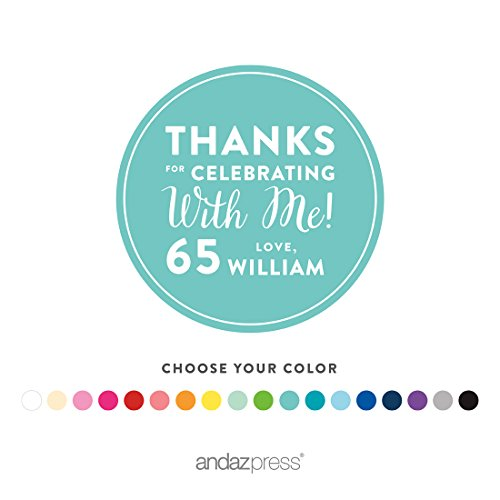 Andaz Press Personalized Round Circle Labels Stickers, Milestone Collection, Thanks for Celebrating with Me 65th Birthday Number Style, 40-pack, Custom Name Color, Decorations Party Favors, Gifts