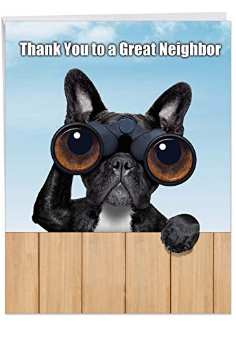 Cute Personalized Greeting Card with Envelope 8.5 x 11 Inch - Black French Bulldog Spying Over the Neighbor's Fence 'Thank You to a Great Neighbor' Funny