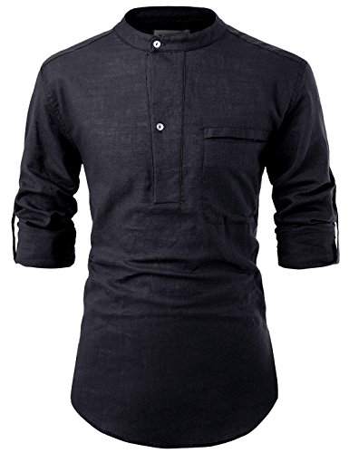 NEARKIN NKNKN381 Mens China Collar Henley Neck Roll-Up Sleeve Basic Linen Shirts Black US XXXL(Tag Size 3XL)