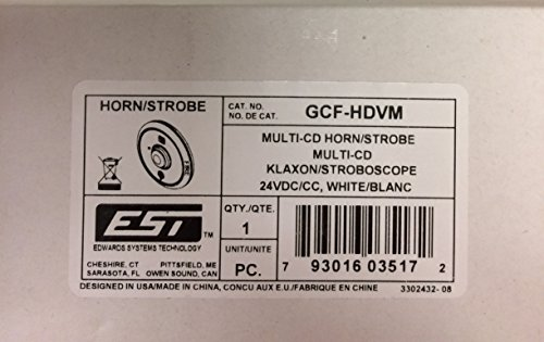 Edwards GCF-HDVM - Multi-Candela Horn-Strobe Ceiling, W/ Fire Markings (Edwards Horn Strobe)